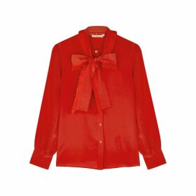 Tory Burch Red Silk Crepe De Chine Blouse