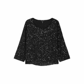 EILEEN FISHER Black Sequin-embellished Silk Top
