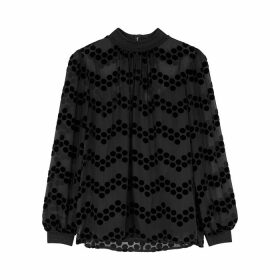 Tory Burch Black Polka Dot-devoré Blouse
