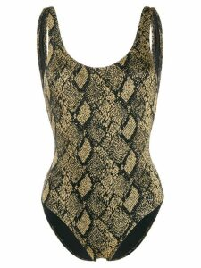 Solid & Striped scoop neck snakeskin print one-piece - Yellow