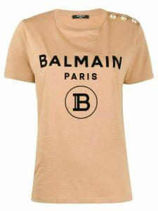 Balmain printed logo T-shirt - NEUTRALS
