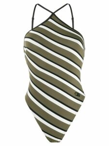 Solid & Striped halter neck diagonal stripe one-piece - Green