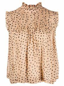 GANNI polka dot sleeveless blouse - NEUTRALS