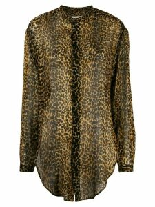 Saint Laurent leopard-print wool shirt - Black