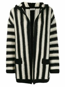 Saint Laurent open front striped cardigan - White