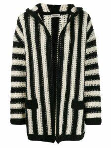 Saint Laurent open front striped cardigan - White