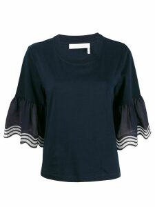 See by Chloé waved flared sleeve top - Blue