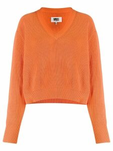 Mm6 Maison Margiela v-neck knit jumper - ORANGE