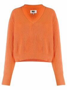 Mm6 Maison Margiela v-neck knit jumper - ORANGE