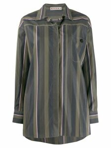 Marni oversized striped poplin shirt - Green