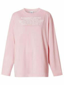 Burberry location coordinates print long-sleeve T-shirt - PINK