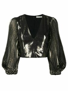 Alice+Olivia pleated-sleeve cropped lamé blouse - GOLD