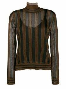 Fendi Pequin-striped high-neck jumper - Brown