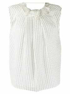 Nina Ricci pleated pinstriped silk top - White