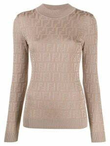 Fendi knitted FF motif patterned sweater - NEUTRALS