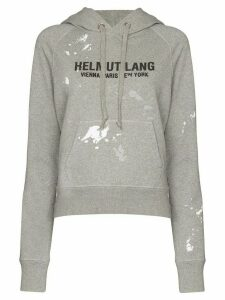 Helmut Lang logo-print paint-splattered cotton hoodie - Grey