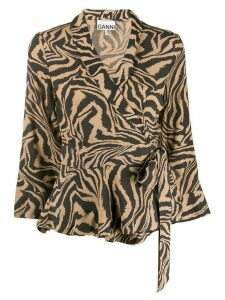 GANNI tiger print wrap blouse - NEUTRALS