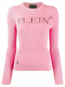 Philipp Plein logo slim-fit sweater - PINK