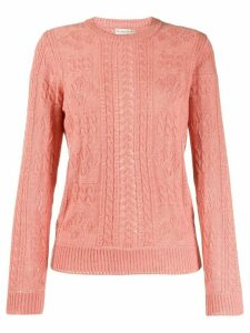Etro slim-fit cable knit jumper - PINK