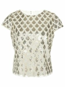 Milly scale sequin-embellished top - NEUTRALS