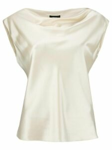 Theory sleeveless draped-neck blouse - NEUTRALS