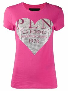 Philipp Plein crystal heart T-shirt - PINK