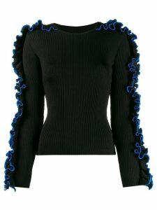 Koché ruffled sides ribbed sweatshirt - Black