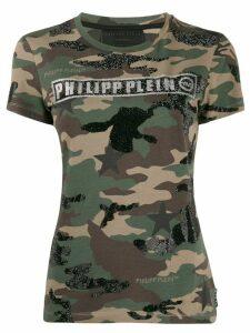Philipp Plein logo camouflage print T-shirt - Green