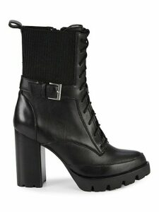 Govern Leather Stack-Heel Lace-Up Booties