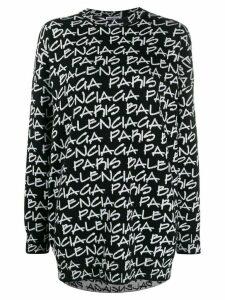 Balenciaga Paris jacquard print jumper - Black