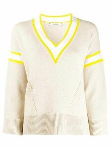 Dorothee Schumacher contrast V-neck cable knit top - NEUTRALS