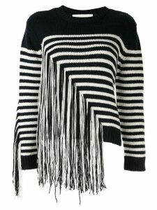 PortsPURE fringed striped-intarsia jumper - Blue