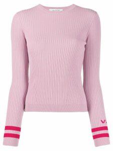 Valentino ribbed crew neck VLTN jumper - PINK