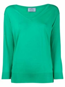Prada fine knit v-neck jumper - Green