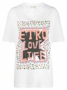 Etro short sleeve printed slogan T-shirt - White