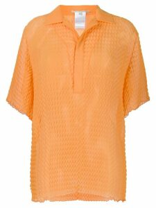 Marco De Vincenzo herringbone pattern polo top - ORANGE