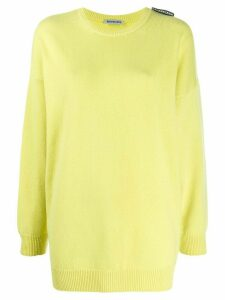 Balenciaga oversized logo tag crew neck jumper - Yellow