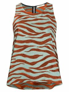 Odeeh textured animal print vest top - ORANGE