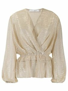 IRO tiger-jacquard wrap top - NEUTRALS
