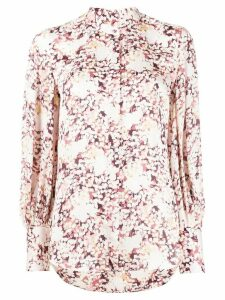 Equipment floral print fitted cuff blouse - PINK