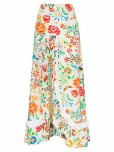All Things Mochi Clara ruffled floral-print maxi skirt - White