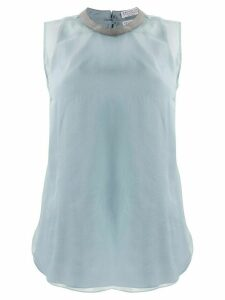 Brunello Cucinelli sheer studded detail blouse - Blue