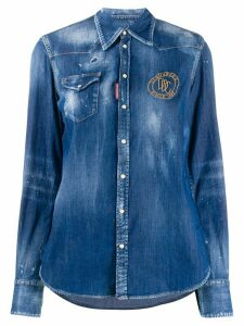 Dsquared2 embroidered logo denim shirt - Blue