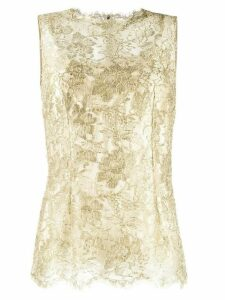Dolce & Gabbana lace brocade sleeveless blouse - GOLD
