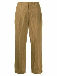 Odeeh straight pleated waist trousers - Brown