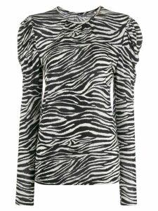 Derek Lam 10 Crosby zebra print puff shoulder sweater - White