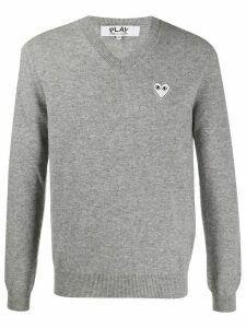 Comme Des Garçons Play embroidered logo v-neck jumper - Grey