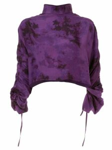 Strateas Carlucci tie-dye asymmetric silk top - PURPLE
