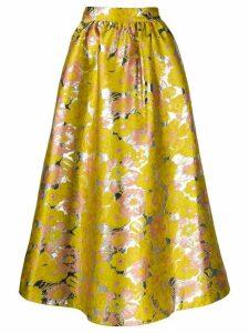 MSGM metallic floral skirt - Yellow