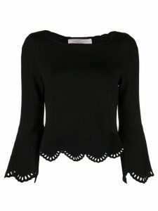 Carolina Herrera laser-cut scalloped sweater - Black